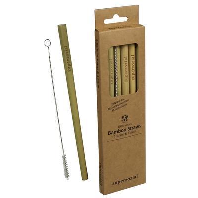 Bamboo Straws 6er Set inkl. Bürste
